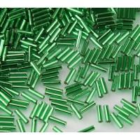 6mm Miyuki Bugle Seed Beads, Silver Lined Kelly Green, 10 Gram Bag