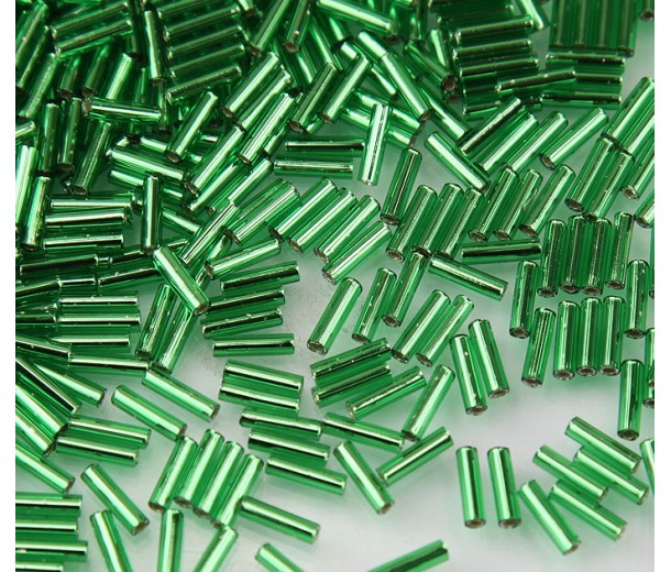 6mm Miyuki Bugle Seed Beads, Silver Lined Kelly Green, 10 Gram Bag