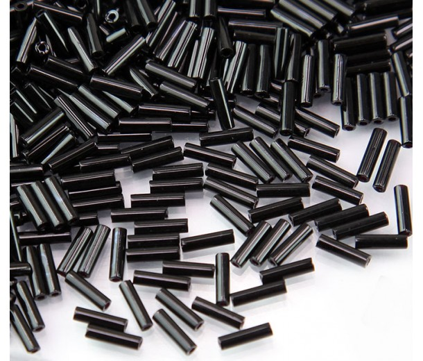 6mm Miyuki Bugle Seed Beads, Opaque Black, 10 Gram Bag