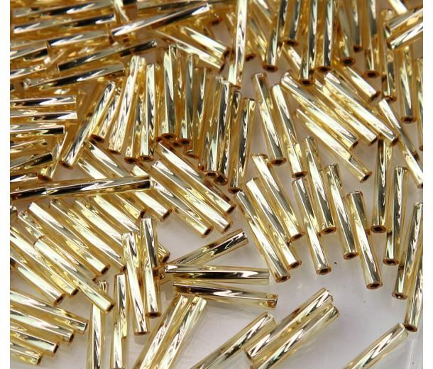 12mm Miyuki Twisted Bugle Seed Beads, Silver Lined Gold, 10 Gram Bag
