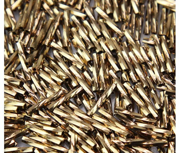 12mm Miyuki Twisted Bugle Seed Beads, Metallic Bronze, 10 Gram Bag