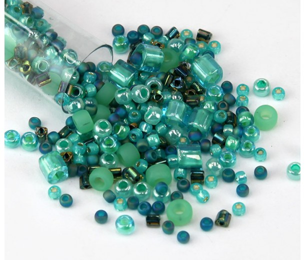 toho seed bead mix seafoam green 5 5 inch vial golden age beads