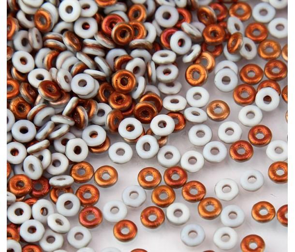 1x4mm Czech Glass O Beads, Matte White Sunset, 10 Gram Bag