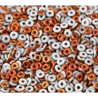 1x4mm Czech Glass O Beads, Matte White Sunset