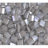 5x5mm Miyuki Tila Beads, Grey Ceylon, 10 Gram Bag