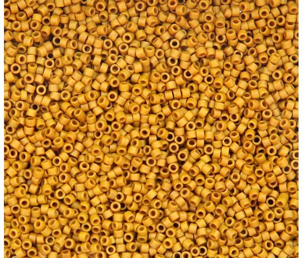 11/0 Miyuki Delica Seed Beads, Matte Glazed Maple Yellow, 7.2 Gram Tube
