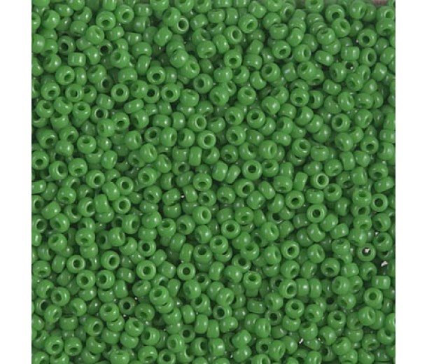 11/0 Miyuki Round Rocaille Seed Beads, Opaque Green, 10 Gram Bag