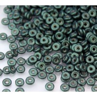 1x4mm Czech Glass O Beads, Metallic Suede Green, 10 Gram Bag