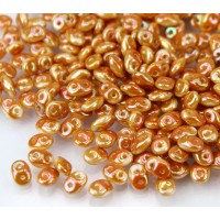 2x5mm Matubo SuperDuo 2-Hole Seed Beads, White Apricot, 10 Gram Bag
