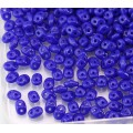 2x5mm Matubo SuperDuo 2-Hole Seed Beads, Opaque Cobalt Blue
