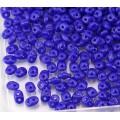 2x5mm Matubo SuperDuo 2-Hole Seed Beads, Opaque Cobalt Blue, 10 Gram Bag