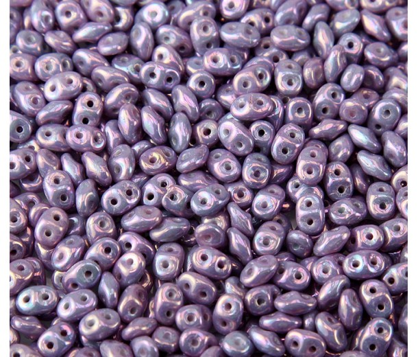 2x5mm Matubo SuperDuo 2-Hole Seed Beads, Opaque Purple Nebula, 10 Gram Bag