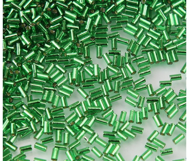 3mm Miyuki Bugle Seed Beads, Silver Lined Kelly Green, 10 Gram Bag
