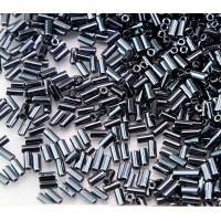 3mm Miyuki Bugle Seed Beads, Metallic Hematite, 10 Gram Bag