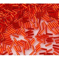 6mm Miyuki Bugle Seed Beads, Silver Lined Red, 10 Gram Bag