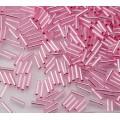 6mm Miyuki Bugle Seed Beads, Silver Lined Pink, 10 Gram Bag
