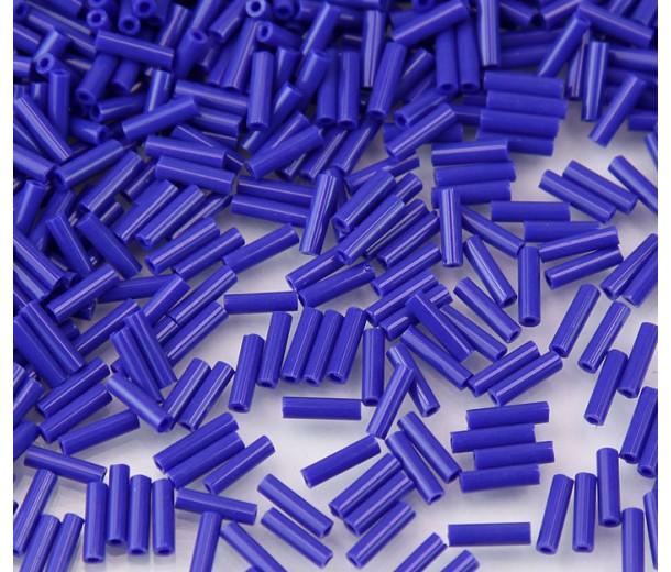 6mm Miyuki Bugle Seed Beads, Opaque Cobalt, 10 Gram Bag