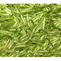 12mm Miyuki Twisted Bugle Seed Beads, Silver Lined Lime Green, 10 Gram Bag