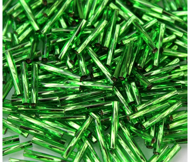 12mm Miyuki Twisted Bugle Seed Beads, Silver Lined Kelly Green, 10 Gram Bag