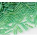 12mm Miyuki Twisted Bugle Seed Beads, Matte Rainbow Green, 10 Gram Bag