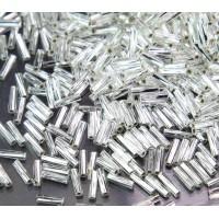 6mm Miyuki Twisted Bugle Seed Beads, Silver Lined Crystal, 10 Gram Bag