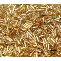 6mm Miyuki Twisted Bugle Seed Beads, Silver Lined Gold, 10 Gram Bag
