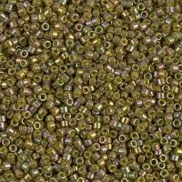 11/0 Miyuki Delica Seed Beads, Rainbow Olive, 5 Gram Bag