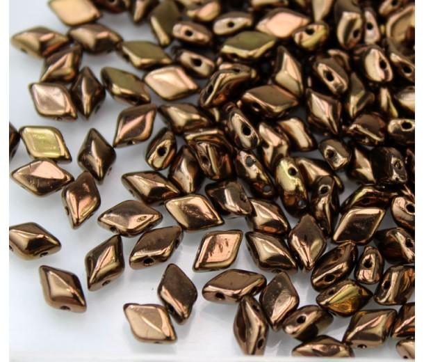 8x5mm Matubo GemDuo 2-Hole Seed Beads, Dark Bronze, 10 Gram Bag