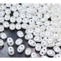 2x5mm Matubo SuperDuo 2-Hole Seed Beads, Pearlized Snow White, 10 Gram Bag