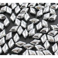 8x5mm Matubo GemDuo 2-Hole Seed Beads, Silver Metallic, 10 Gram Bag