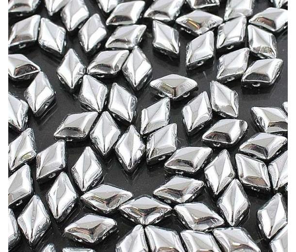 8x5mm Matubo GemDuo 2-Hole Seed Beads, Silver Metallic, 10 Gram Bag