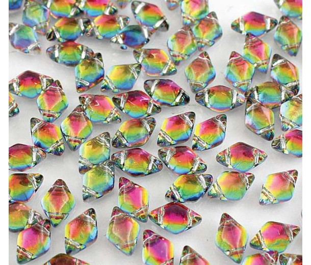 8x5mm Matubo GemDuo 2-Hole Seed Beads, Backlit Utopia, 10 Gram Bag