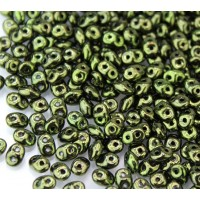 2x5mm Matubo SuperDuo 2-Hole Seed Beads, Metallic Green, 10 Gram Bag