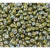 2x5mm Matubo SuperDuo 2-Hole Seed Beads, Opaque Olive Nebula, 10 Gram Bag