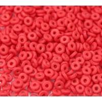 1x4mm Czech Glass O Beads, Matte Opaque Red, 10 Gram Bag