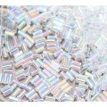 3mm Miyuki Bugle Seed Beads, Rainbow Crystal, 10 Gram Bag