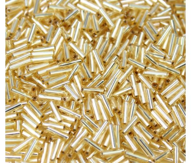 6mm Miyuki Bugle Seed Beads, Silver Lined Gold, 10 Gram Bag