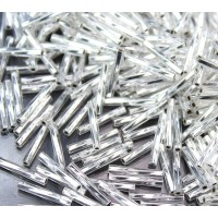 12mm Miyuki Twisted Bugle Seed Beads, Silver Lined Crystal, 10 Gram Bag