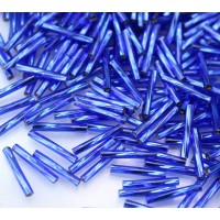 12mm Miyuki Twisted Bugle Seed Beads, Silver Lined Cobalt Blue, 10 Gram Bag