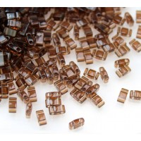 5mm Miyuki Half Tila Beads, Transparent Brown, 10 Gram Bag