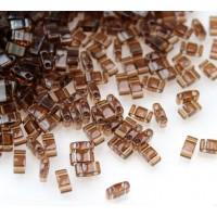 5mm Miyuki Half Tila Beads, Transparent Brown, 10 Gram Bag