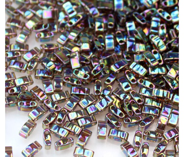 5mm Miyuki Half Tila Beads, Rainbow Dark Amethyst, 10 Gram Bag