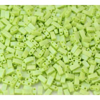 5mm Miyuki Half Tila Beads, Matte Rainbow Chartreuse, 10 Gram Bag