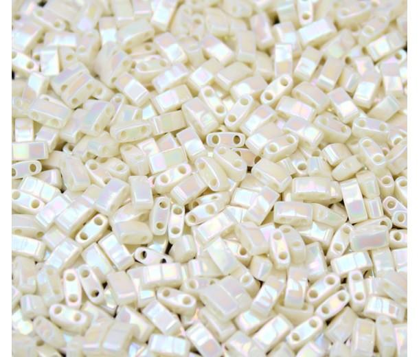 5mm Miyuki Half Tila Beads, Rainbow Eggshell, 10 Gram Bag