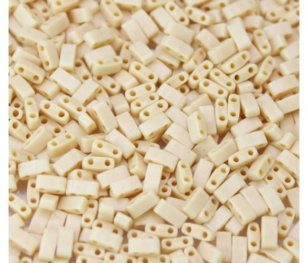 5mm Miyuki Half Tila Beads, Opaque Dark Tan, 10 Gram Bag