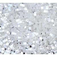 5mm Miyuki Half Tila Beads, White Ceylon, 10 Gram Bag