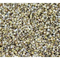 11/0 Toho Treasure Seed Beads, Opaque Green Picasso Luster, 5 Gram Bag