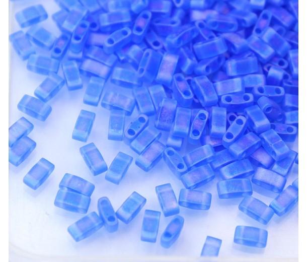5mm Miyuki Half Tila Beads, Matte Rainbow Sapphire Blue, 10 Gram Bag