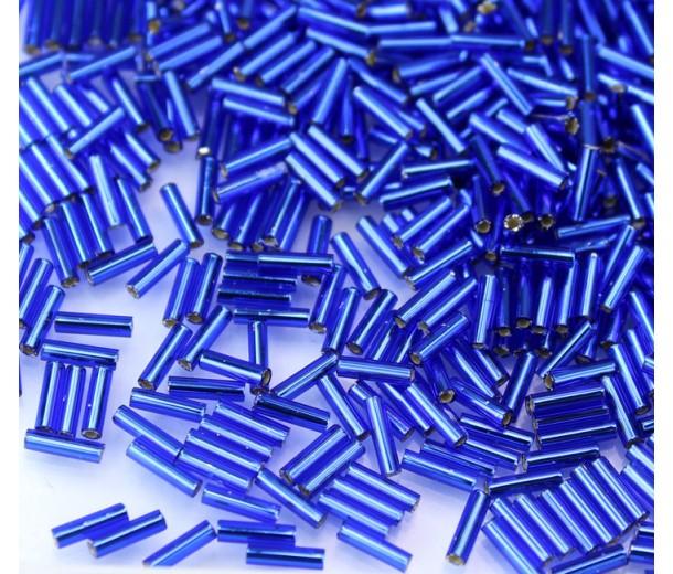 6mm Miyuki Bugle Seed Beads, Silver Lined Cobalt Blue, 10 Gram Bag