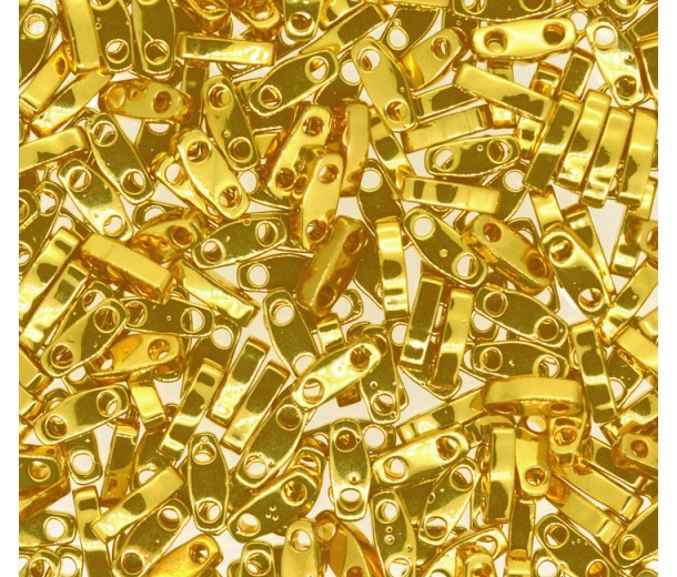 5mm Miyuki Quarter Tila Beads, 24K Gold Plated, 10 Gram Bag
